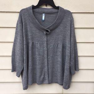 Lane Bryant Cardigan Sweater 3/4 Gray Shrug 2X 3X
